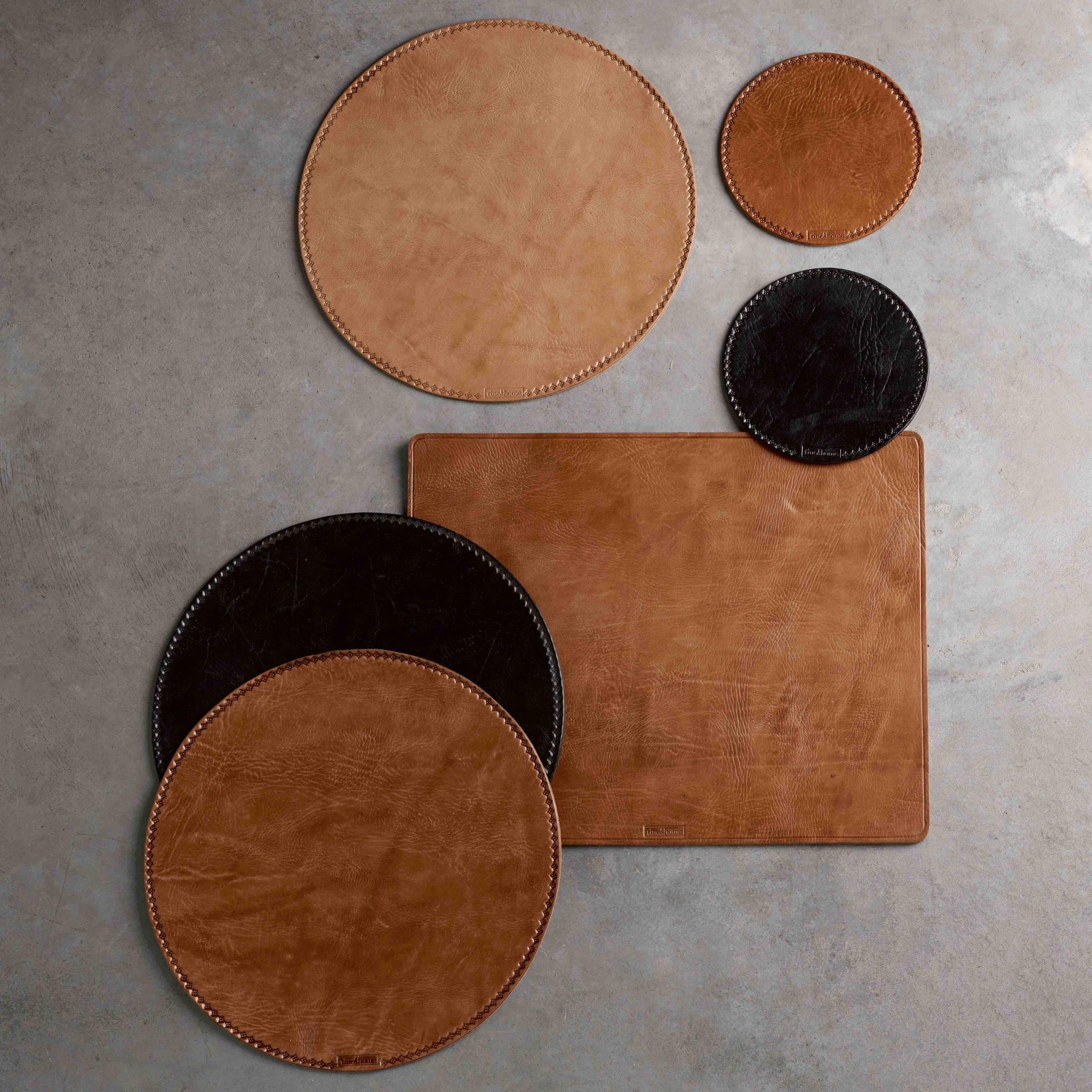 brun matte - Spisebrikke i skinn - Brun