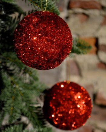 DSC 0698 350x435 - Julekule - Tinsel rød, medium