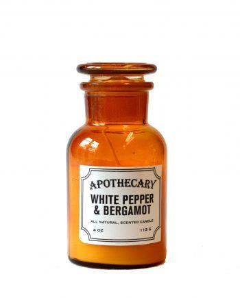 whitepepperbergamont 350x435 - Duftlys i apotekglass - White pepper & bergamot