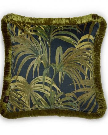 palmeral medium fringed velvet cushion midnight green 1 350x435 - Pute - Palmeral, fringed, House of Hackney
