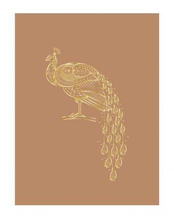 ImageHandler.ashx 18 350x435 - Plakat - Brunt med gull påfugl