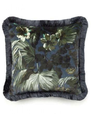 limerence medium velvet cushion ink 350x435 - Pute - Limerence, fringed velvet, midnight/green