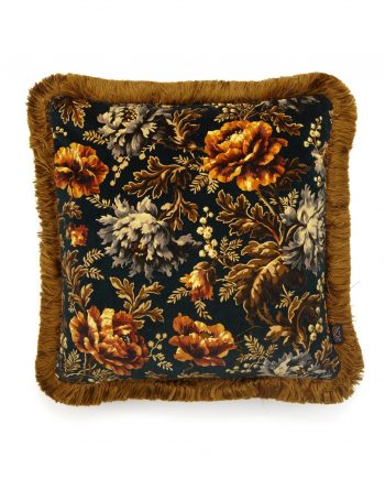 opia fringed velvet cushion midnight 350x435 - Pute - Opia, Midnight, fringed, House of Hackney