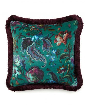 florika medium velvet cushion petrol 350x435 - Pute - Florika,Petrol fringed, House of Hackney
