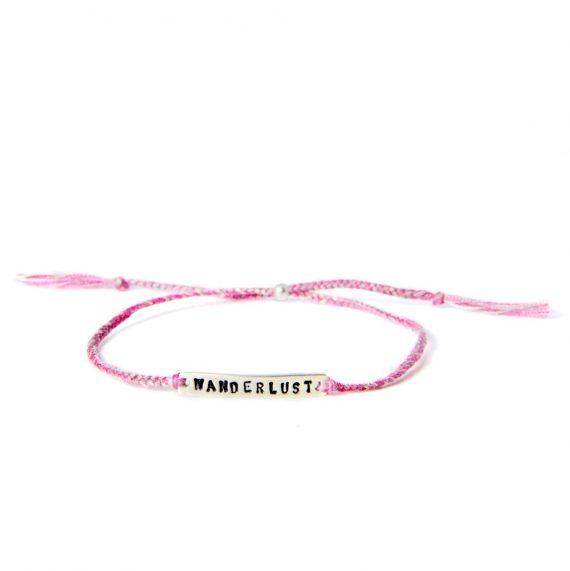 wanderlust pink silver 570x571 - Armbånd - BE!NOTICED, WANDERLUST, rosa og sølv