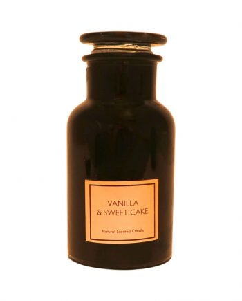 IMG 3761 350x435 - Duftlys i apotekglass - Vanilla & sweet cake