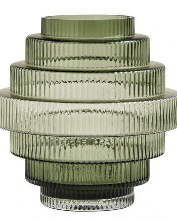 "9057 350x435 - Vase - ""Rilla"" grønt glass, large"