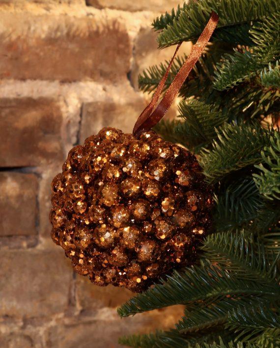 IMG 4310 570x708 - Julekule - Glitter balls, brown/gold