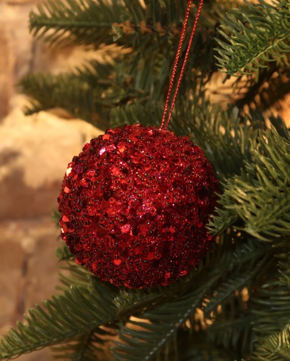 IMG 4414 570x708 - Julekule - Bead sequence ball red