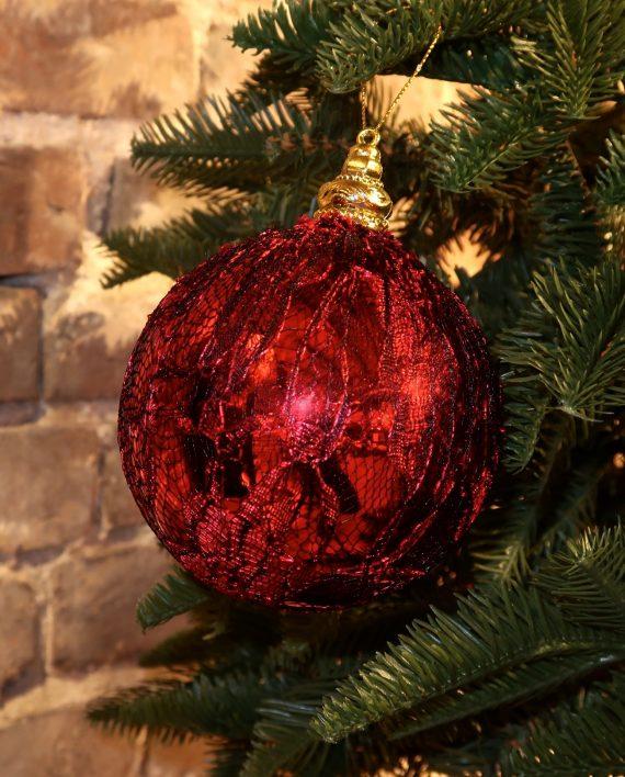 IMG 4438 570x708 - Julekule - Lace ball red/black
