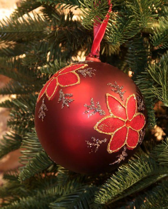 IMG 4476 570x708 - Julekule - Glass ball, burgundy w/poinsettia