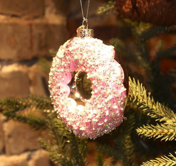 "IMG 4797 570x540 - Julepynt - ""Glass donut, pink"""