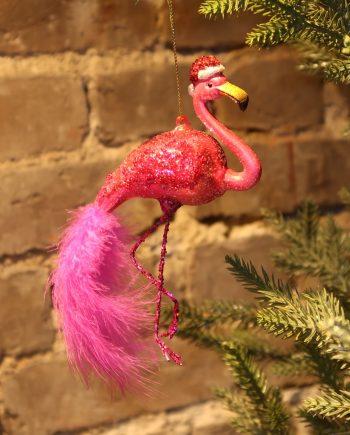 "IMG 4807 350x435 - Julepynt - ""Flamingo w/ christmas hat"""