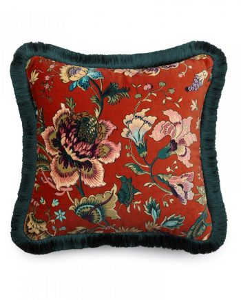 majorelle medium fringe cushion henna 1 350x435 - Pute - Majorelle, medium velvet fringed, House of Hackney