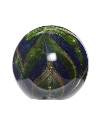 160704 350x435 - Glasskule - Blå, grønn & gull