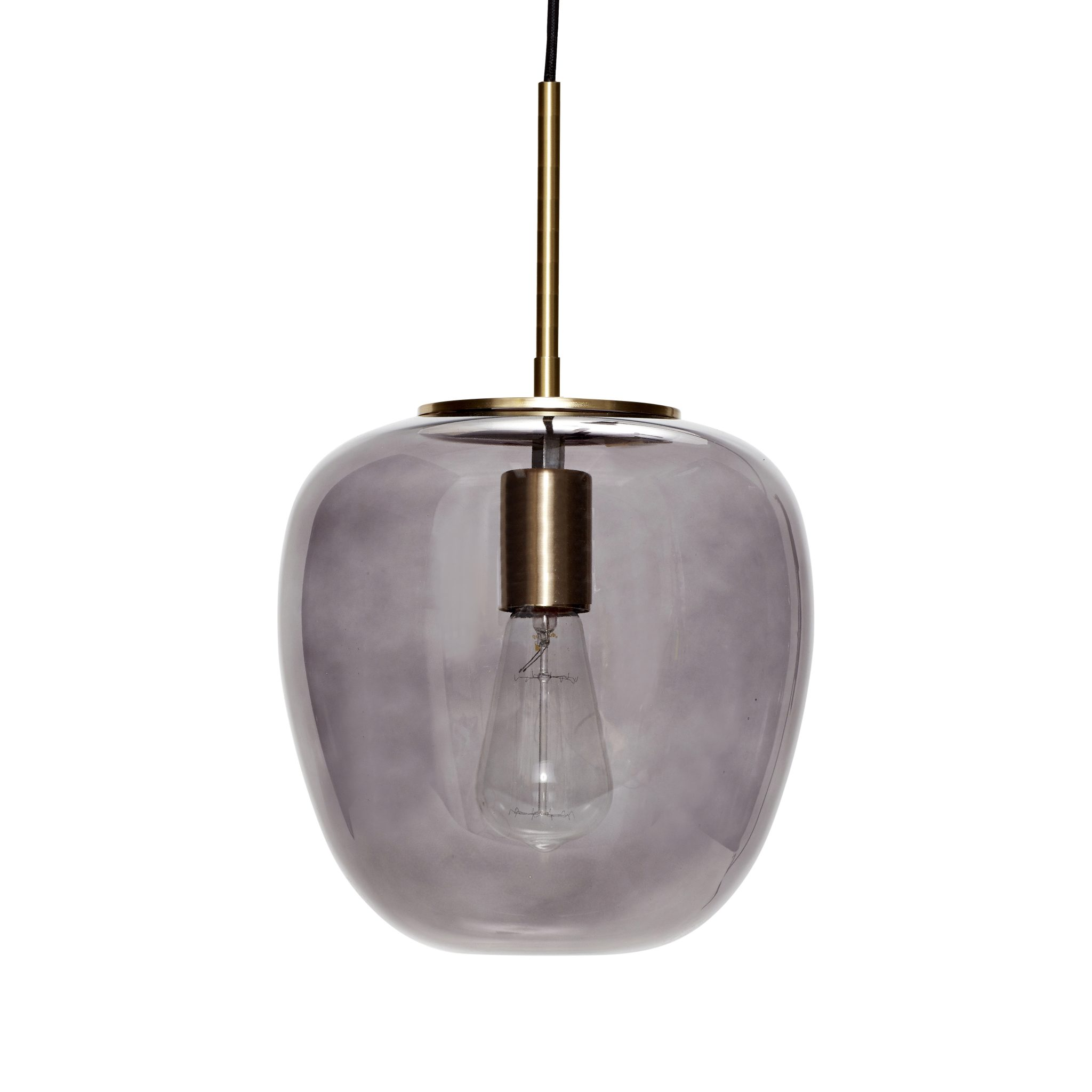 Siste Taklampe - Smoked, glass & messing, small - Palma store GS-42