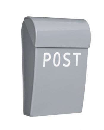 """476054 lysegra 350x435 - Mini postkasse """"Post"""" - Lys grå, matt"""
