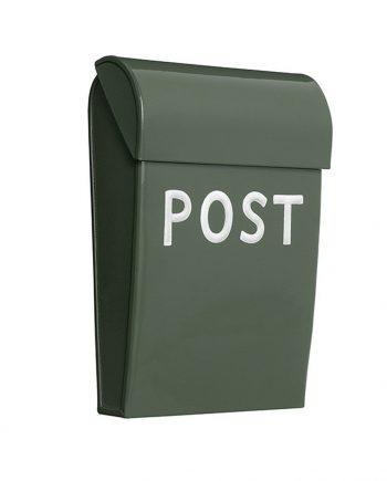 "476705 olivengron 2 350x435 - Mini postkasse ""Post"" - Olivengrønn"