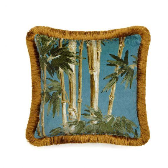 bambusa velvet fringed cushion azure 1 570x570 - Pute - Bambusa, Azure, fringed, House of Hackney