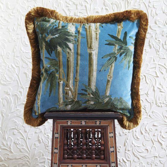 bambusa velvet fringed cushion azure 2 570x570 - Pute - Bambusa, Azure, fringed, House of Hackney