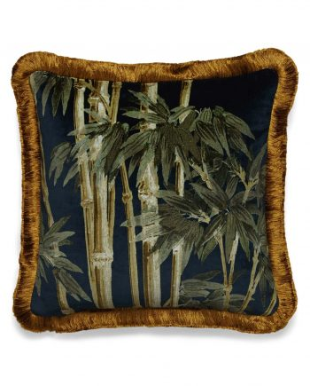 bambusa velvet fringed cushion midnight 1 350x435 - Pute - Bambusa, midnight, fringed, House of Hackney