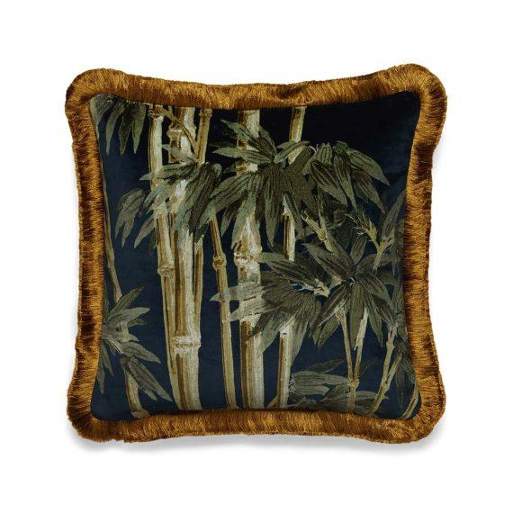 bambusa velvet fringed cushion midnight 1 570x570 - Pute - Bambusa, midnight, fringed, House of Hackney