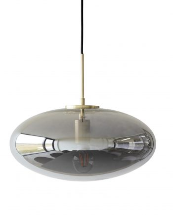 990822 350x435 - Taklampe - Smoked, glass & messing, oval