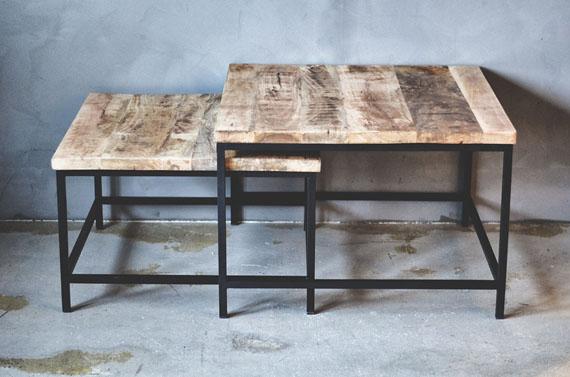TD675 - Sofabord i tre og metall - Set á 2 stk