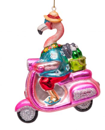 "1162300140011.org  350x435 - Julepynt - "" Flamingo on scooter"""