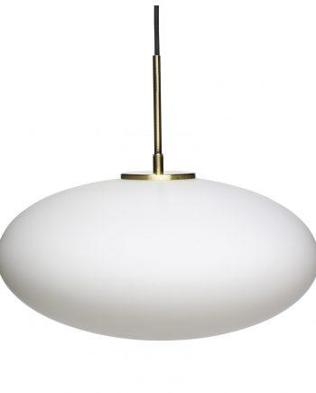 990821 350x435 - Taklampe - Glass, hvit & messing, oval