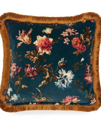 rosetta medium fringed velvet cushion petrol 1 350x435 - Pute - Rosetta, velvet, House of Hackney