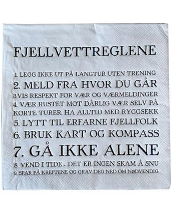 "L66924 1 350x435 - Servietter - ""Fjellvettreglene"""