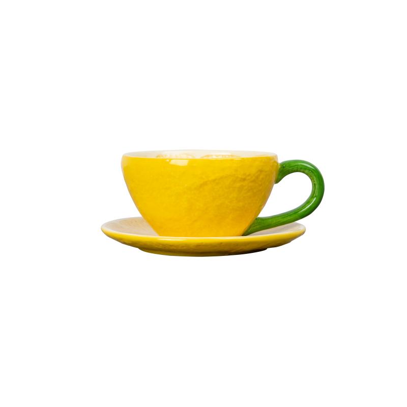 286 209y - Tekopp med underskål - Lemon