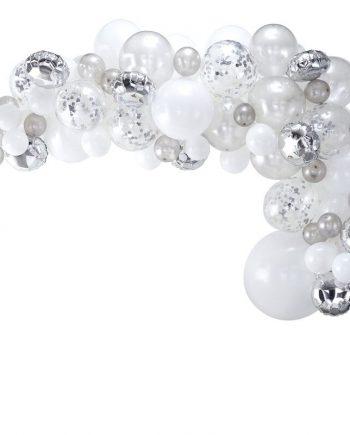 "ba 302 silver balloon arch   cut out min 350x435 - Ballongbue ""Sølv & hvit"" - 70 ballonger"