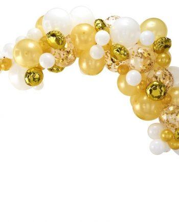 """ba 303 gold balloon arch   cut out min 350x435 - Ballongbue """"Gull & hvit"""" - 70 ballonger"""