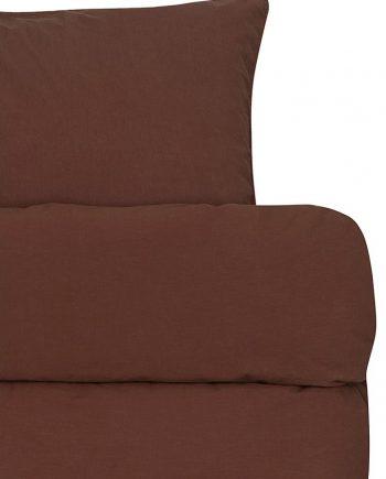 froya organic cotton reddish brown detalj e1600679285545 350x435 - Sengesett - Rødbrun
