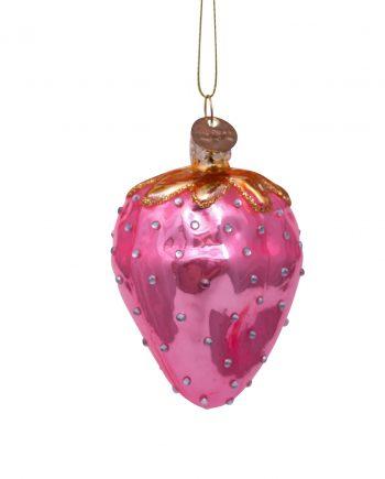 "1192810080033.org  350x435 - Julepynt - ""Glass pink strawberry w/diamonds"