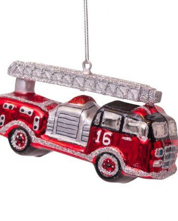 vs ornament glass red silver firetruck h6cm 2 350x435 - Julepynt - Glass firetruck red/silver
