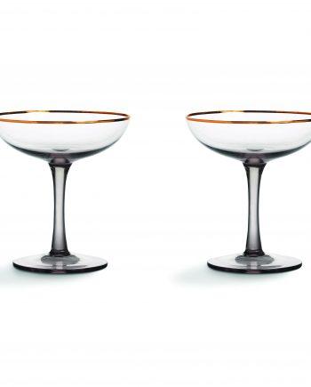 329 01 350x435 - Champagne glass - smoked, set á 2 stk