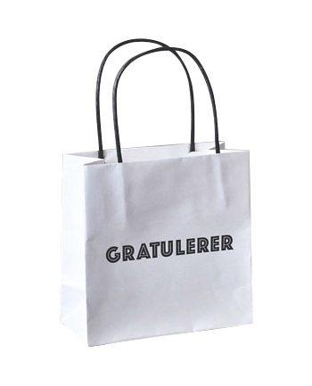 """818907 1 350x433 - Gavepose """"Gratulerer"""" - Hvit small"""