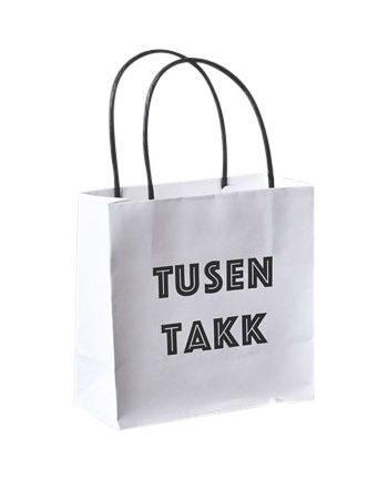 """818909 1 350x433 - Gavepose """"Tusen takk"""" - Hvit small"""