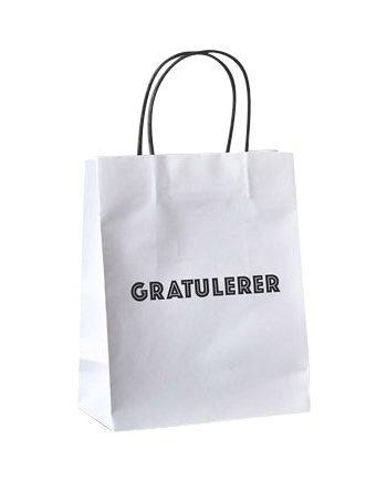 """818910 1 350x435 - Gavepose """"gratulerer"""" - Hvit"""