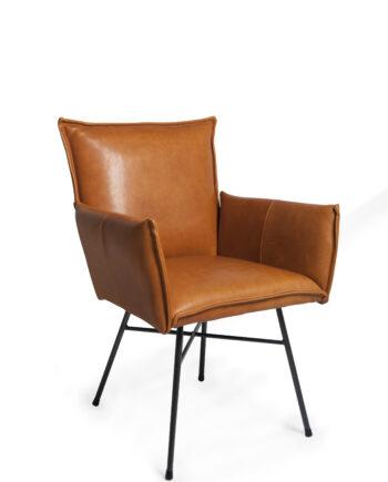 Sanne diningchair with arm Luxor cognac oblique 350x435 - Spisestol - Sanne
