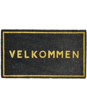 """584111 350x435 - Dørmatte """"Velkommen"""" -sort/gull"""