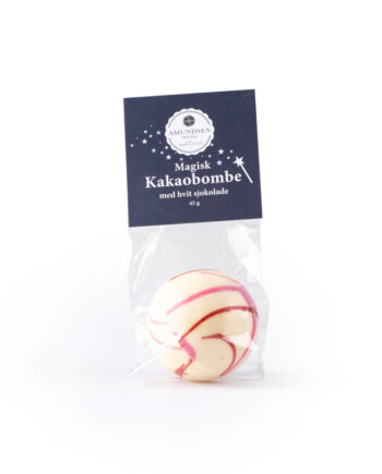 Amundsen Spesial Kakaobombe hvit sjokolade 350x435 - Kakaobombe m/ minimarshmallows - Hvit sjokolade