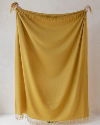 """LRLPLMU11 1 NEW 1800x1800 350x435 - Pledd - """"Mustard"""" - 100 % lammeull 150x200 cm"""