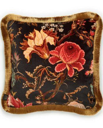 artemis medium fringed velvet cushion black 1 350x435 - Pute - Artemis, fringed, House of Hackney