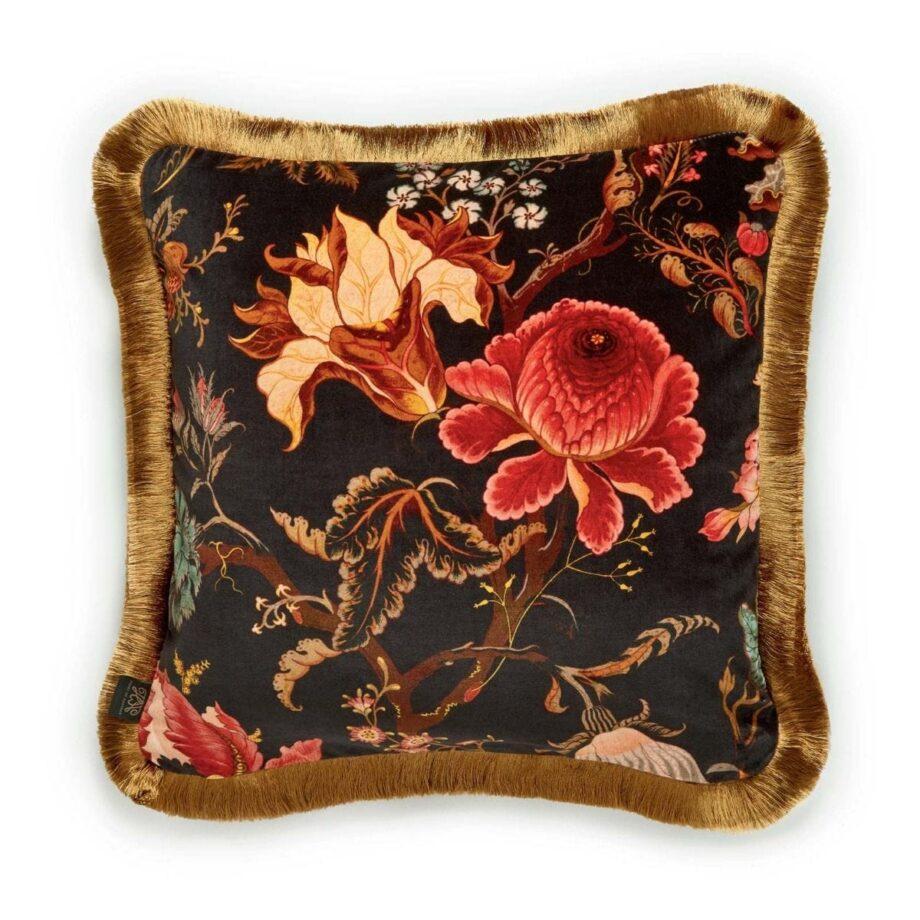 artemis medium fringed velvet cushion black 1 920x920 - Pute - Artemis, fringed, House of Hackney