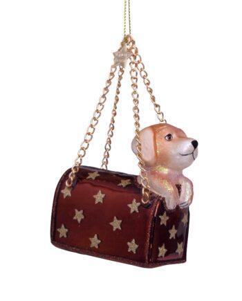 4212250070016.web  350x435 - Julepynt - Glass brown opal bag w/labrador puppy
