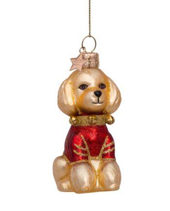 5212250100019.web  350x435 - Julepynt - Glass blond poodle w/red t-shirt